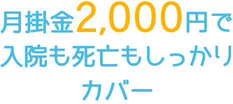 月々2,000円で入院・死亡保障をしっかりカバーする生命共済